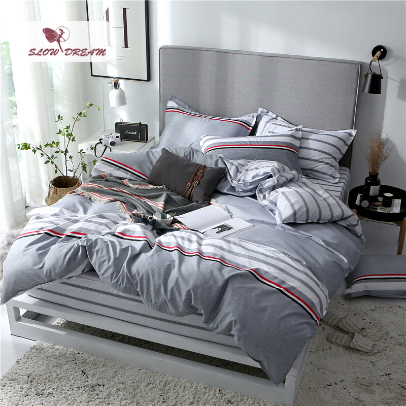 SlowDream Bed Cover Set 3/4pcs Pillowcase Nordic Bedding Set Rubber Sheet On Elastic Band Duvet Cover Set Fitted Sheet Corners