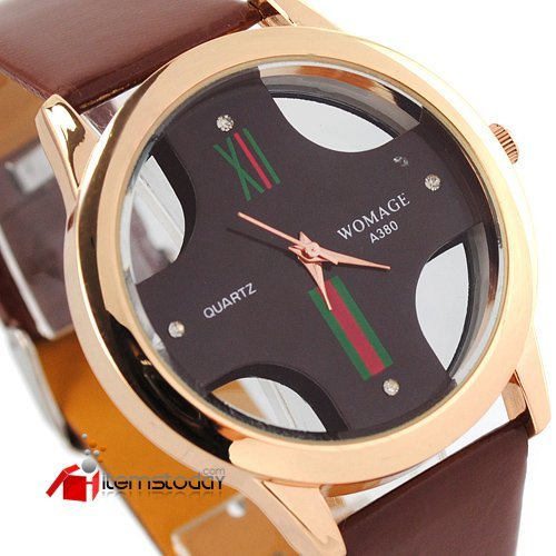 Rose gold hand men Quartz  watch leather band iw2049
