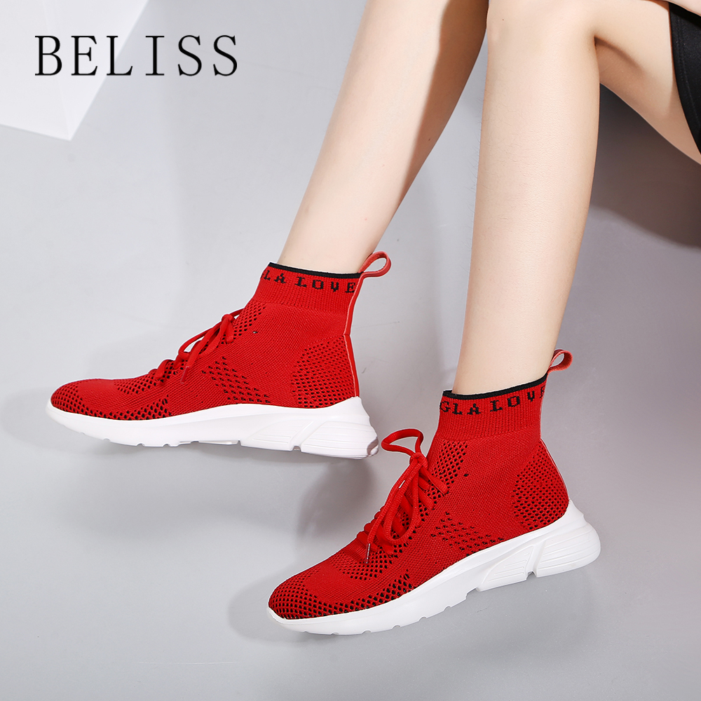 BELISS 2018 new breathable stretch socks shoes women 39 s wild quality flat bottomed sports shoes casual bare boots M2 in Women 39 s Flats from Shoes