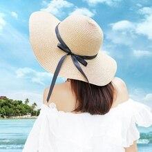 Summer Solid Raffia Straw Bucket Hat Fishman Cap Foldable Crocheted Straw  Hat Girls Large Brim Beach 42919dc563e4