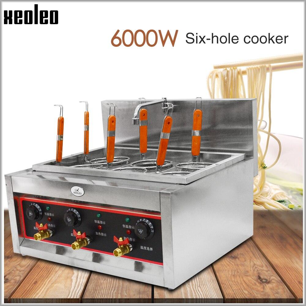 XEOLEO sopa de Macarrão fabricante de macarrão Elétrica fogão Massas caldeira fogão buracos 6 Comercial aço Inoxidável máquina de Cozinhar macarrão 6KW