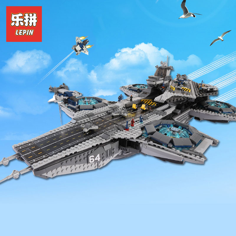 LEPIN 07043 Super Heroes 3057Pcs The SHIELD Helicarrier Model Building Blocks Bricks Boy Toys Gifts Compatible LegoINGlys 76042 single sale pirate suit batman bruce wayne classic tv batcave super heroes minifigures model building blocks kids toys gifts