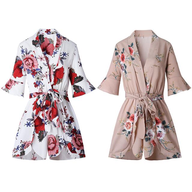 Summer Jumpsuits Romper Floral Print