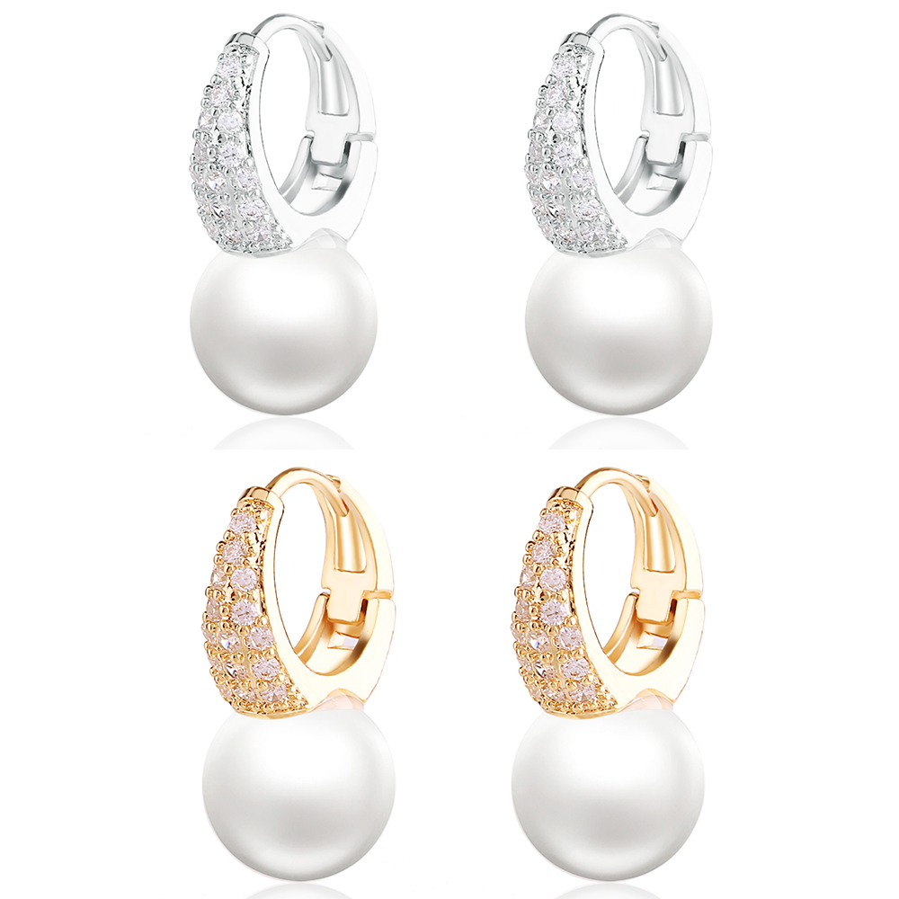 Natural Fresh Water Baroque White Pearl Drop Fish Hook Women Earrings Micro-inlaid Zircon