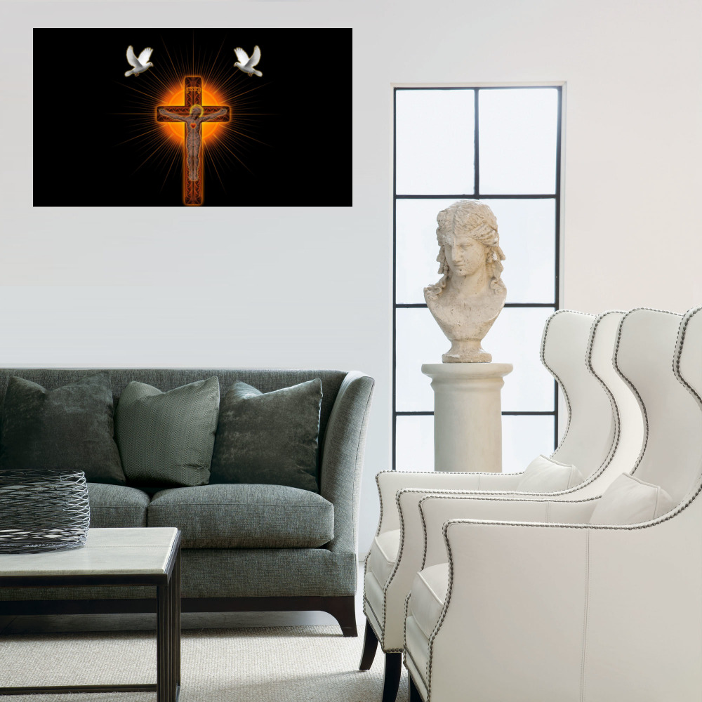 Living Room Paintings Us 11 47 26 Off Cross Shrine Pigeons Painting Picture Wall Art Modern Home Decor Canvas Painting For Living Room Paintings Custom In Painting