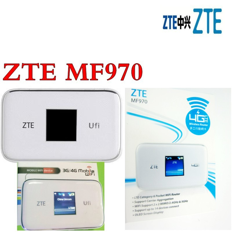 Lot of 2pcs unlocked ZTE MF970 with 2pcs antenna LTE pocket 300mbps dongle Mobile Hotspot 4g