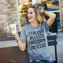 Stressed, Blessed, and Coffee Obsessed Triblend Tees Short Sleeve O-neck Cotton Grey T-shirts for Women Fashion Loose T-shirts