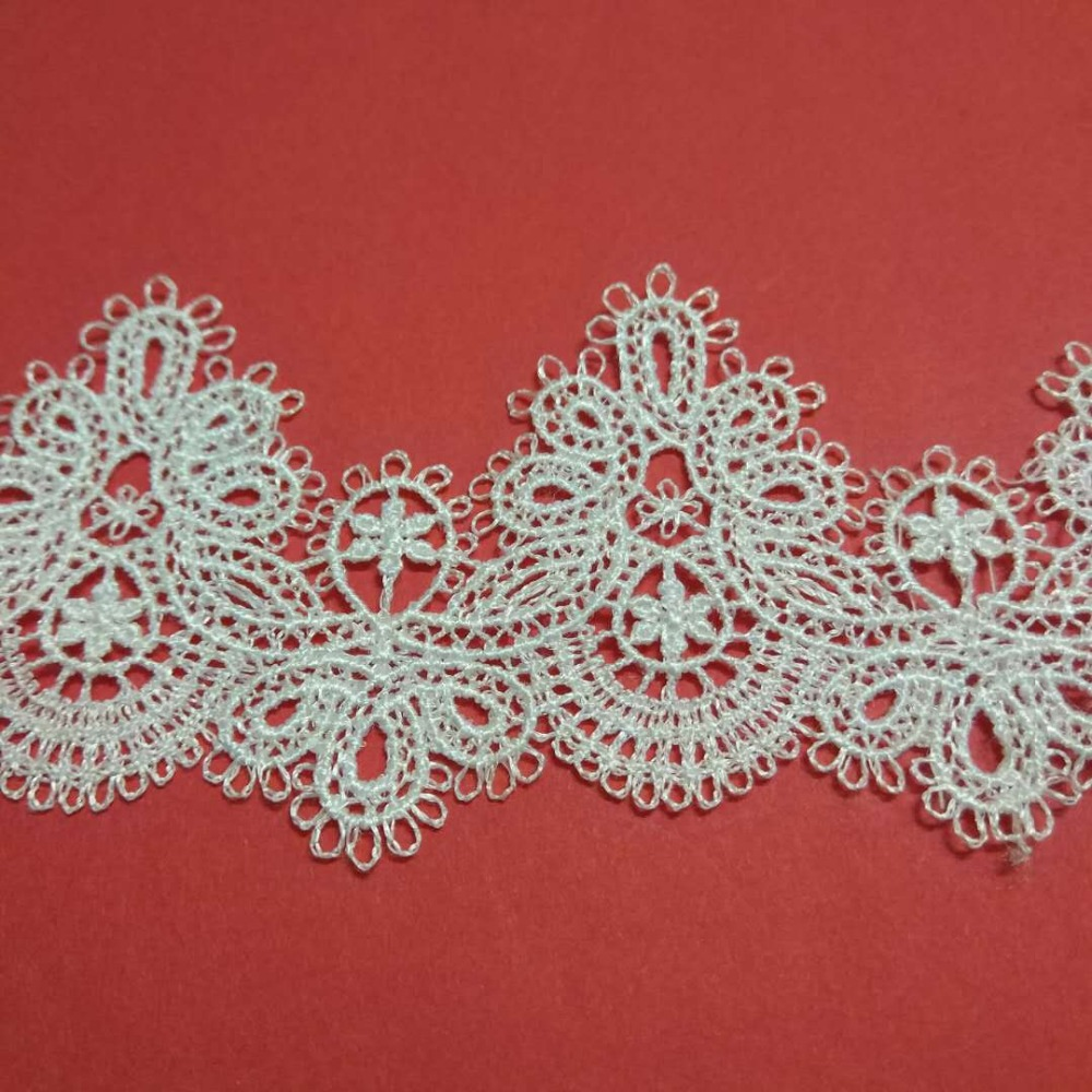 15Yards Embroidery Lace 6cm Width White Embroidered Polyester for Clothes Home Textiles Apparel Sewing Fabric