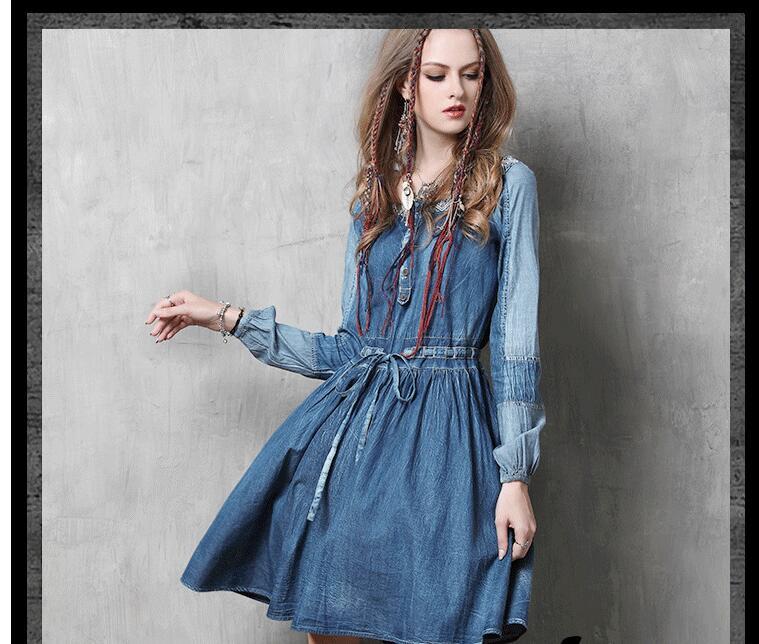 Vestiti Denim Modo Abiti De 1 A Delle Di line Inverno Del Coreano Manica Vestito 2018 Lunga Primavera Donne Estate Allentato Casuale Dress WpRxwqS8pU