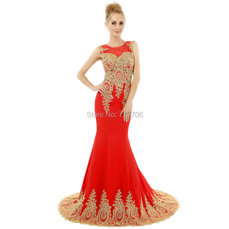 Red and gold evening dresses