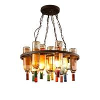 Vintage Retro E27 LED Cafe Loft Bar Iron Wine Bottle Lamp Chandelier Ceiling Droplight Store Cafe