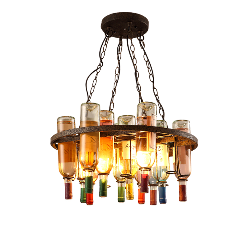 Vintage Retro E27 LED Cafe Loft Bar Iron Wine Bottle Lamp Chandelier Ceiling Droplight Store Cafe Bar Loft Corridor Decor Gift loft simplenordic creative bar bedroom wooden ceiling light chandelier lamp droplight cafe hallway loft bar store corridor hotel
