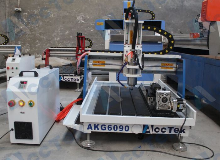 Acctek Desktop 3d Cnc Router Model Stl 6090/6012 For Wood/acrylic/stone/aluminum/metal With Rotary Device Water Tank Cooling