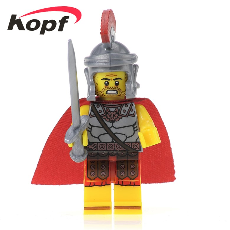 20Pcs Sale Gladiatus Medieval Knights Rome Commander Gift Hunter Dolls War Building Blocks Bricks Figures For Kids Toys XH 433