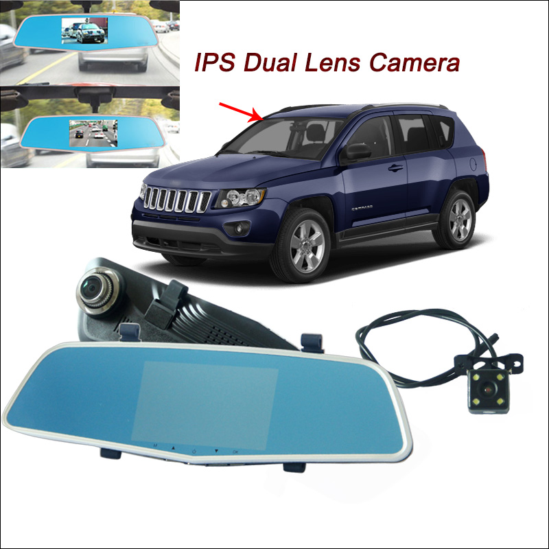 BigBigRoad For jeep compass sahara renegade Car DVR Rearview Mirror Video Recorder Dual Camera IPS Screen car dash camera цена