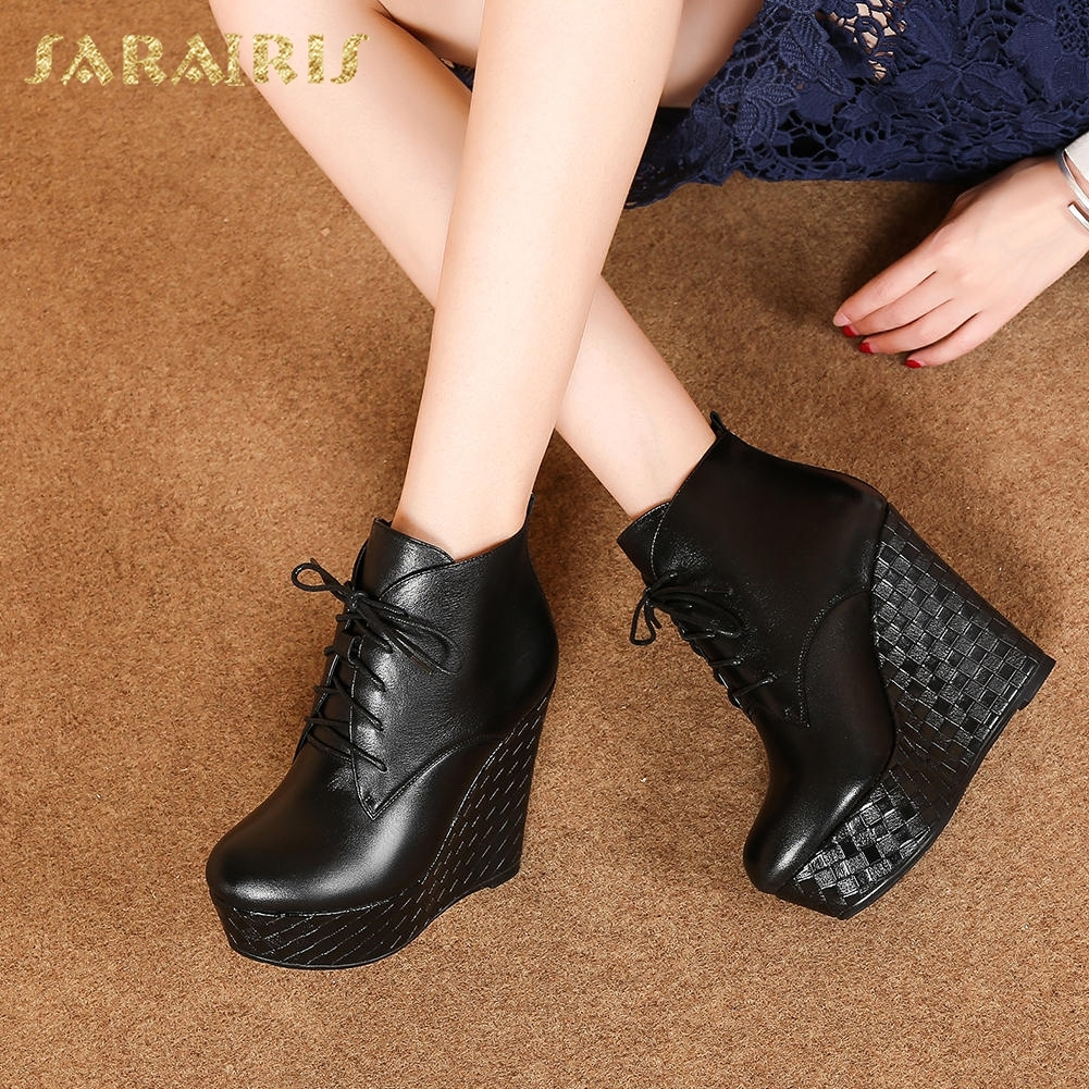 SARAIRIS Top Quality Genuine Leather Hot Sale Cow Leather Wedge High Heels Women Shoes Woman Boots Black Ankle Boots