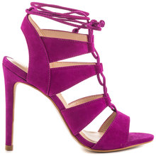 Purple Nubuck  Front Lace Up Women Sandal Suede 4 3/4 inch Heel Stilettos Shoes Women Size 43 Nude Bottom Shoes For Women