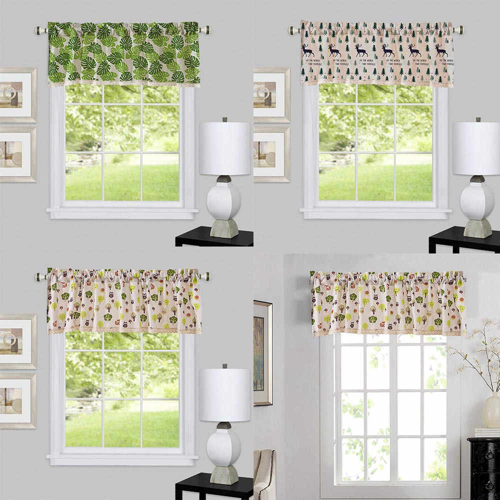 Valance Curtains Extra Wide And Short Window Treatment Kitchen