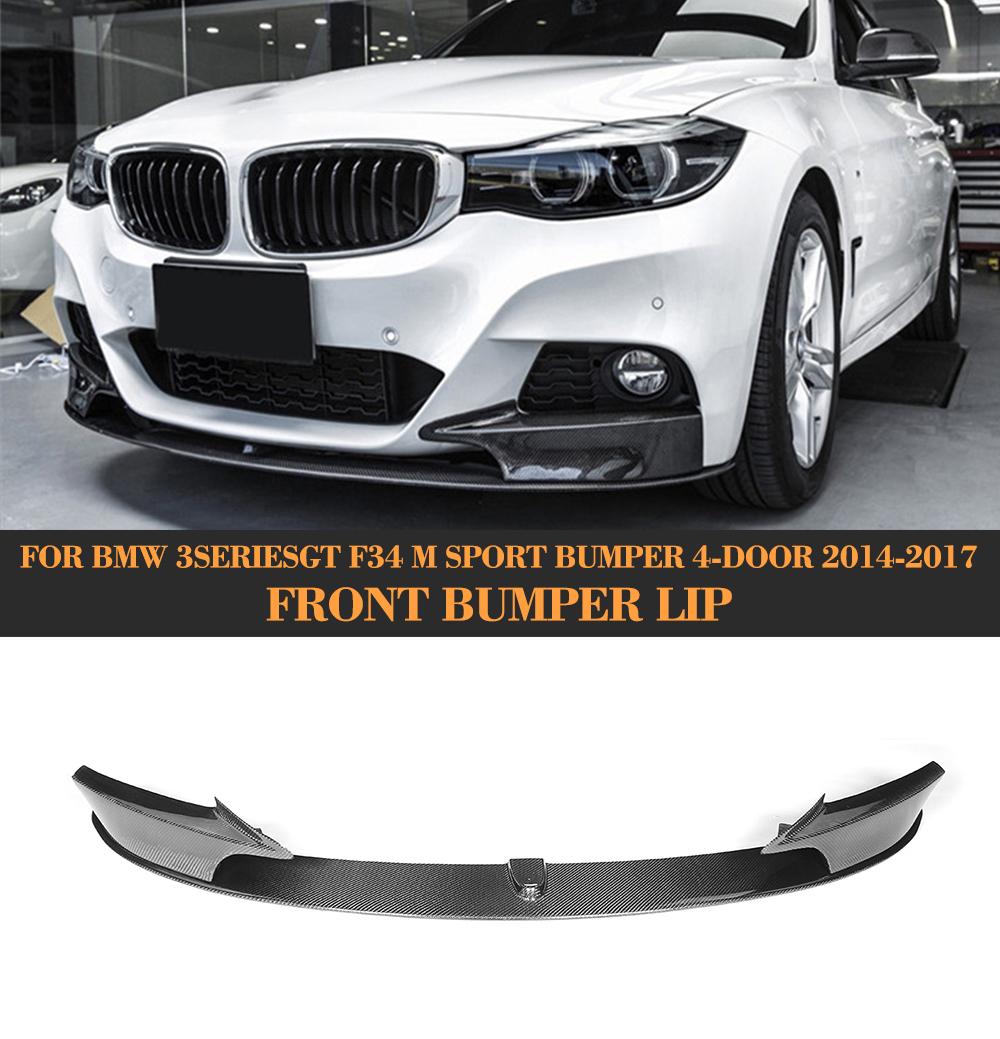 3 Series Carbon Fiber Front Bumper Lip Spoiler With splitters for BMW GT F34 M Sport 4 Door 2014 - 2017 FRP 340i GT xDrive image
