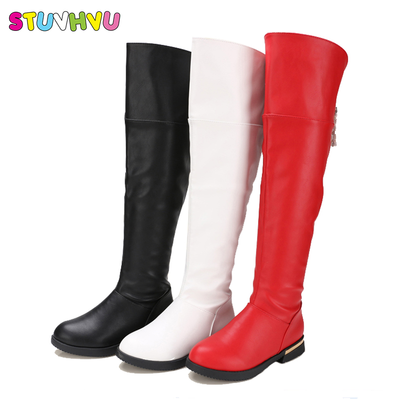 Fashion children knee boots autumn winter girls high quality kids princess boots kids leather waterproof warm cotton shoes 26-37 2016 autumn leather boots for boys girls children casual shoes kids comfort high quality spring martin boots