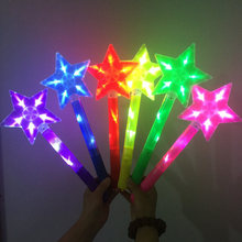 3PCS  Hot Sell Children Illuminated Toys Five pointed Star Flash Stick of light Magic Bar Kids Girl Fairy Rod Toy Gift