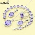 Новая Мода 925 Серебряных Ювелирных Изделий Устанавливает Фиолетовый Создания Аметист Стильный Ожерелье Кольца Серьги Браслет Для Женщин