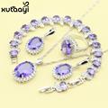 New Fashion 925 Silver Jewelry Sets Purple Created Amethyst Stylish Necklace Rings Earrings Bracelet For Women