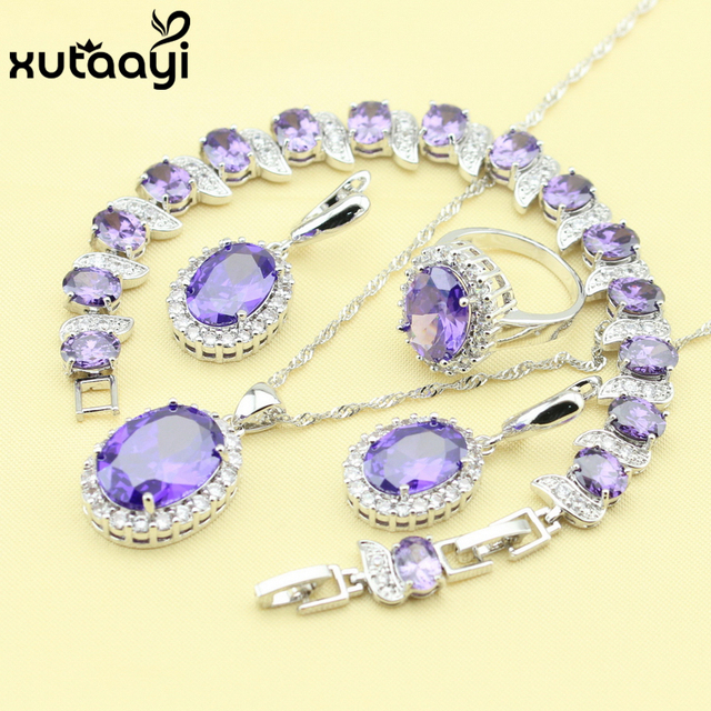 New Fashion 925 Silver Jewelry Sets Purple Created Amethyst Stylish Necklace Rings Earrings Bracelet For Women