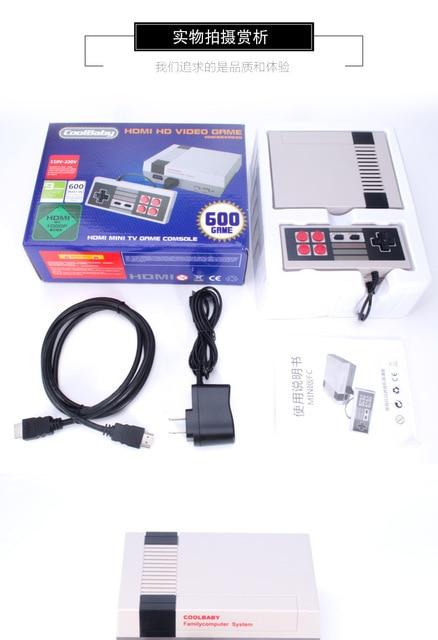 1pcs Game Machine NES Mini TV Game Machine HDMI HD European and American Edition Red and White Machine Built-in 600 Games