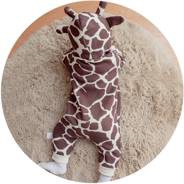 Marca otoño invierno mamelucos del bebé lindo de la jirafa de lana forro  bebé mono con 85c2e5d21462