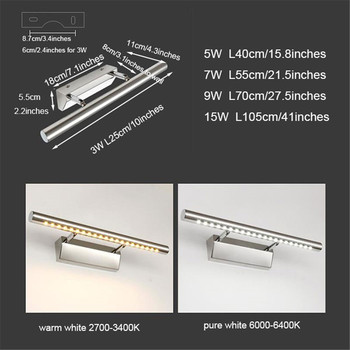 Modern Stainless Steel LED front mirror light bathroom makeup wall lamps led vanity toilet wall mounted sconces lighting fixture 5