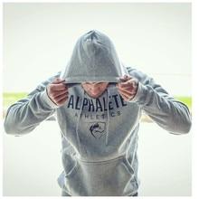 ALPHALETE Men Gyms Hoodies Gyms Fitness Bodybuilding Sweatshirt Crossfit Pullover Sportswear Male Workout Hooded Jacket Clothing