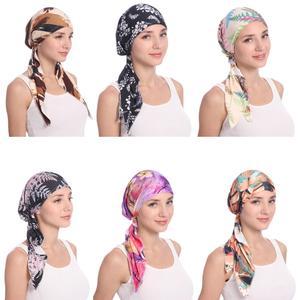 Image 1 - Мусульманская женская шапка тюрбан головной шарф Эластичная Повязка Бандана Хиджаб Кепка против выпадения волос с цветочным принтом Кепка для химиотерапии индийская мода