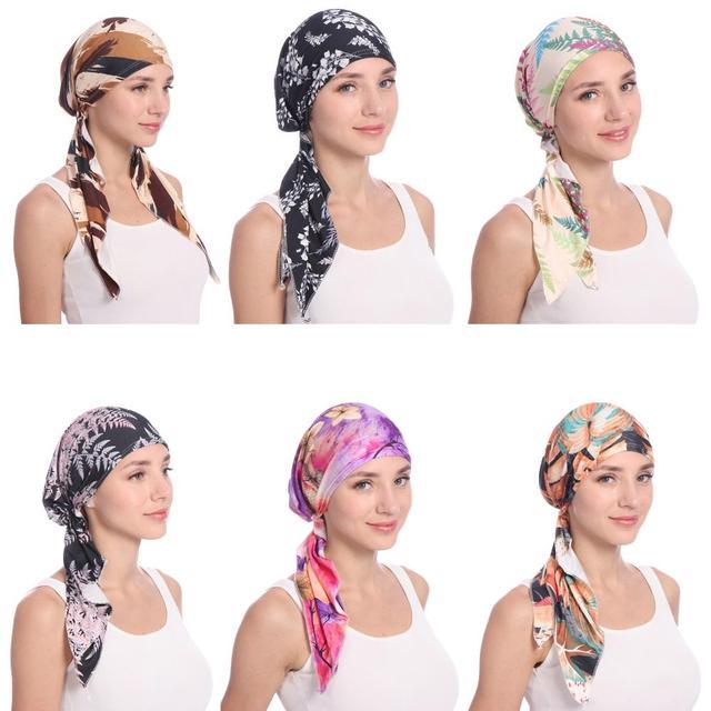 Müslüman kadınlar Beanie Turban şapka başörtüsü sıkı Wrap Bandana başörtüsü kap saç dökülmesi çiçek baskı kanser kemo kap hint moda