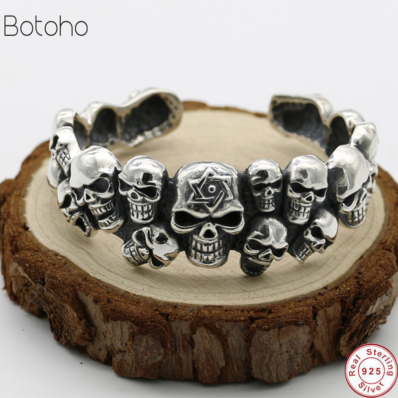 Handmade Thailand S925 Sterling Silver Jewelry Retro Thai Silver Domineering Men Skull Skeleton Punk Wind Open Ended BangleHandmade Thailand S925 Sterling Silver Jewelry Retro Thai Silver Domineering Men Skull Skeleton Punk Wind Open Ended Bangle