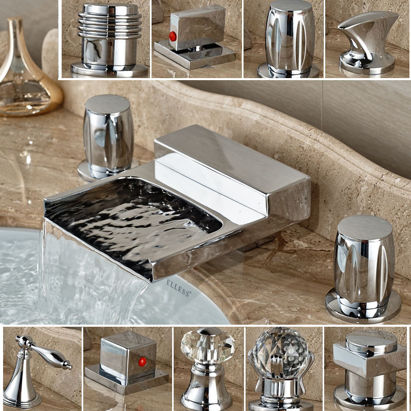 Multi-style Brass Waterfall Basin Faucet Deck Mount Dual Handle Mixers Chrome Finish Deck Mounted