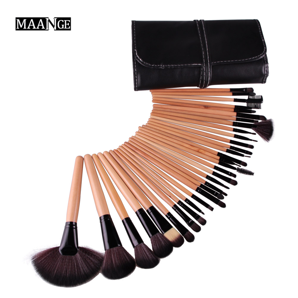 Stock Clearance !!! 32Pcs Foundation Print Logo Makeup Brushes Professional Cosmetic Make Up Brush Set The Best Quality! Kits new 32pcs makeup brushes professional cosmetic make up brush set the best quality