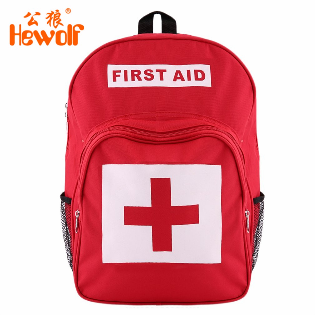 Hewolf Red Cross Pattern First Aid Kit Bag Outdoor Sports Camping Home Medical Emergency Survival Backpack