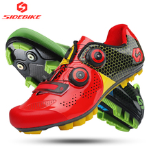 sidebike cycling shoes carbon mountain bike shoes men MTB self-locking athletic racing ultralight breathable wear-resisting red