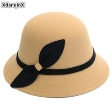 XdanqinX 2019 New Spring Fashion Elegant Womens Fedoras Hat Retro Warm Noble Bow Decoration Female Hats Trend Lady Brands Cap