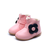 Flower Girls Boots Autumn Winter Soft Soles Leather Shoes Kids Non Slip Keep Warm Martin Snow