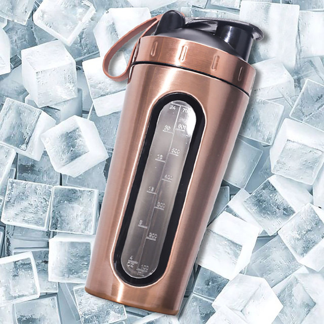 BAISPO Protein Shaker Bottle 700ml Stainless Steel Gym Fitness Sports Shaker Eco Friendly Water Bottle Protein Powder Mixer 1