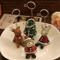 New year Zakka Cute Resin Desktop Tree Bear Note clip notes Elk Photo message folders Rabbit Christmas Decoration free ship