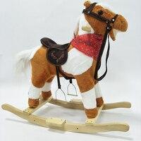 Новые дети деревянная лошадка-качалка забавно двигает музыка животных конная прогулка пони детства Игрушечные лошадки для маленьких девоч...