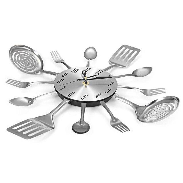 US $12.03 41% OFF|Besteck Design Wanduhr Metall Messer Gabel Löffel Küche  Uhren Kreative Moderne Wohnkultur Einzigartige Stil Wand Uhr (Silber) in ...