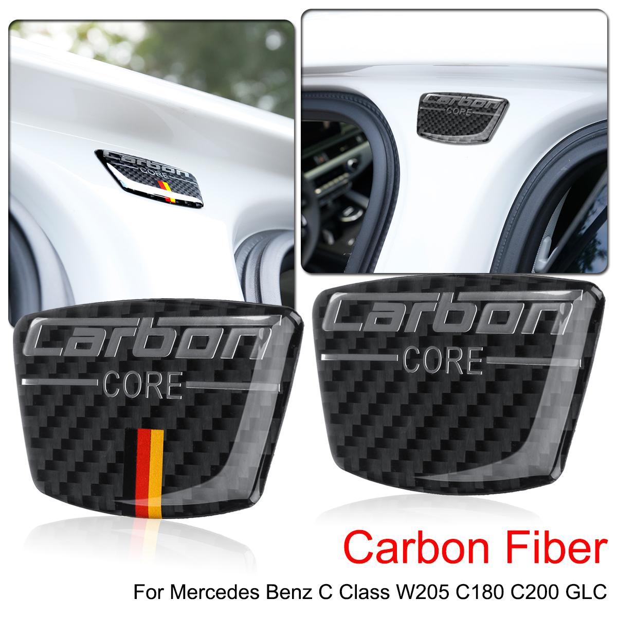 Car Emblem Stickers B Column Door Bumper Carbon Fiber Sticker for Mercedes for Benz C Class <font><b>W205</b></font> C180 C200 <font><b>C300</b></font> GLC image