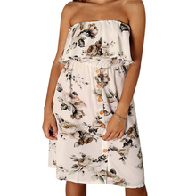 3185d99eca3 New Womens Ladies Strapless Off shoulder sexy Sheering Boob Tube Ruffles  floral printed Casual Summer Dress