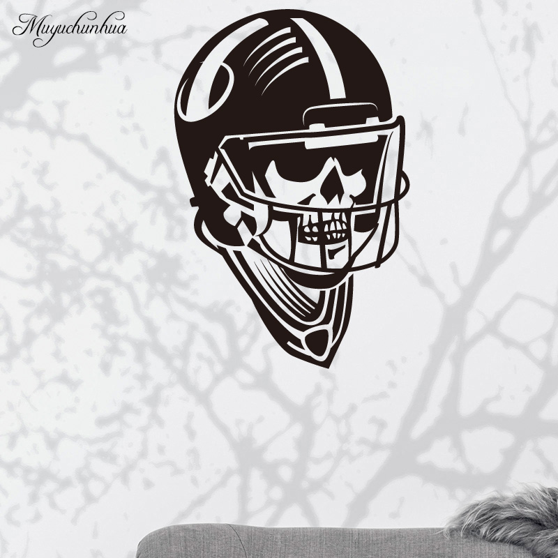 Muyuchunhua Cool Football Helmet Modern Fashion Wall Sticker Home Decoration Accessories for Living Room Background Wall Decal