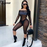 2018 Sexy WOMEN Mesh JUMPSUIT ROMPERS Transparent See Through Exotic Paysuits Off Shoulder Nightclub Black Summer Overalls Sheer