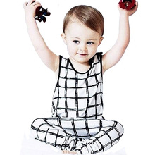 New Summer Nununu Boy Clothing Set Lovely Plaid Pattern T-shirt+Harem Pants 2pcs Suit Fashion Girl Baby Lattice Leisure Children